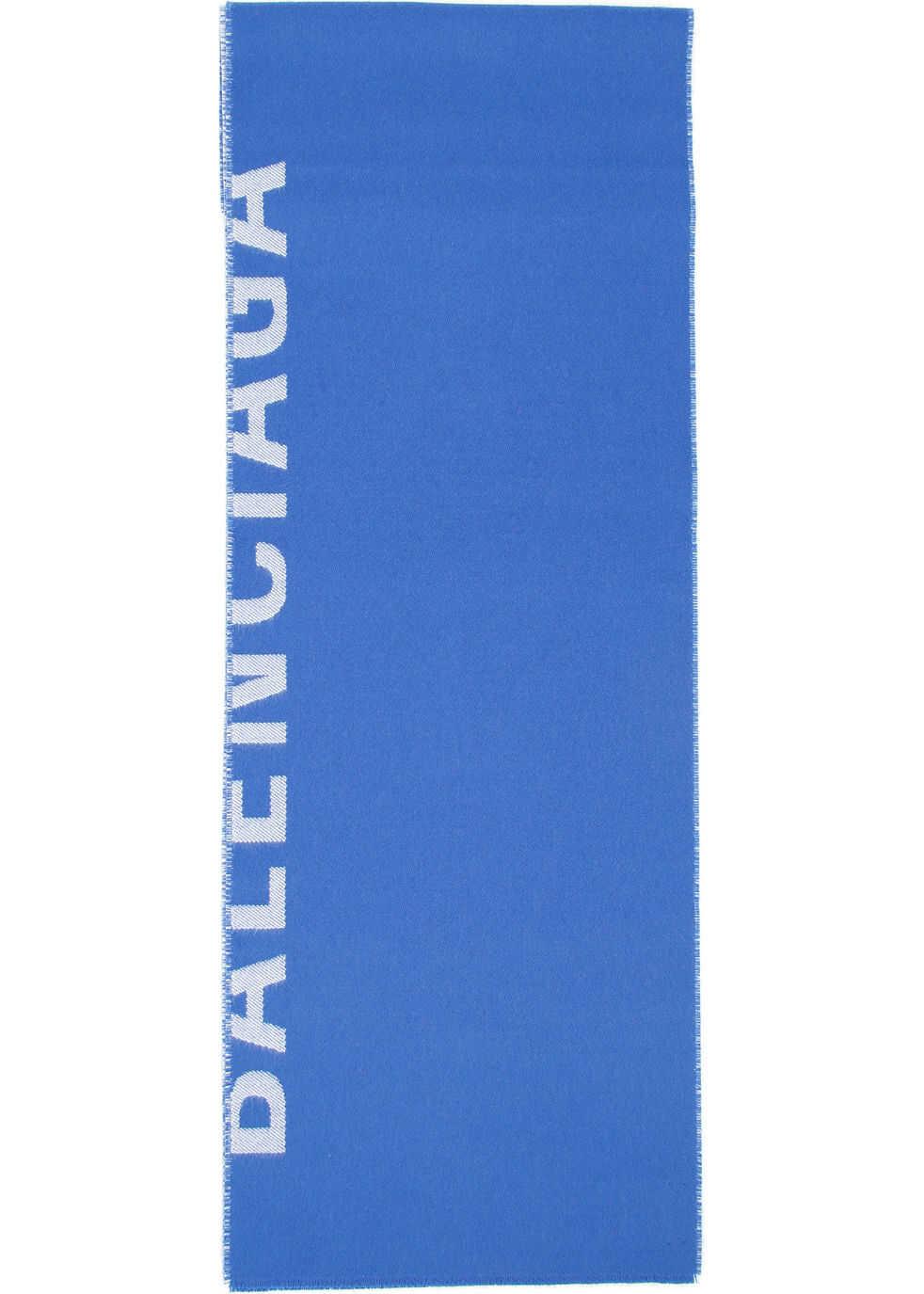 Balenciaga Logo Scarf BLUETTE WHITE