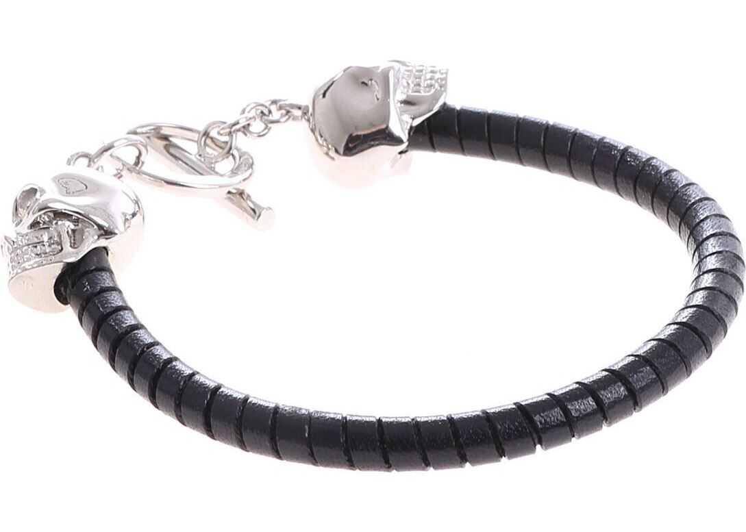 Alexander McQueen Black Bracelet With Silver Skulls Black