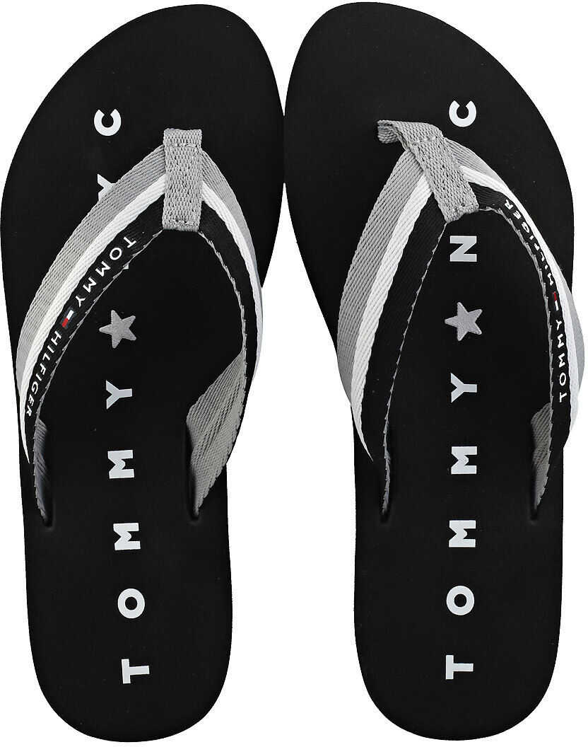 Tommy Hilfiger Tommy Loves Ny Beach Beach Flip Flops In Black Black
