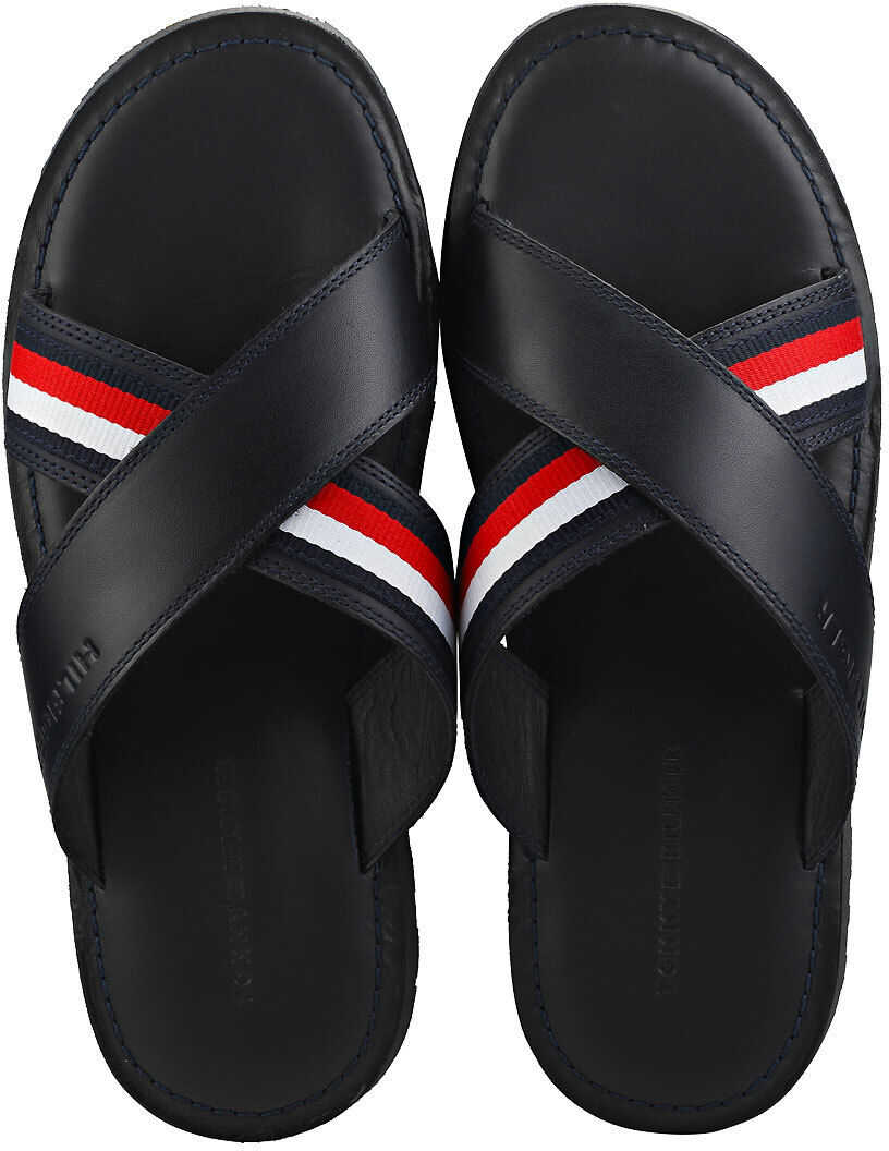 Tommy Hilfiger Criss Cross Leather Walking Sandals In Midnight Navy Navy
