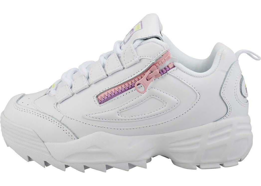 Fila Disruptor 3 Zip Platform Trainers In White Lilac White