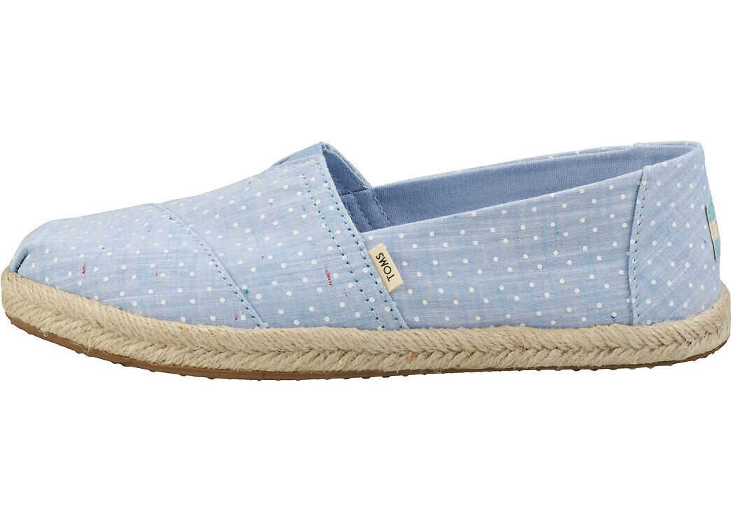 TOMS Bliss Blue Chambrey On Rope Slipon Shoes In Blue White Blue