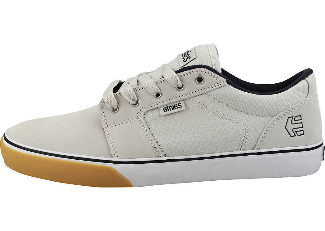 etnies Barge Ls Skate Trainers In White Navy White