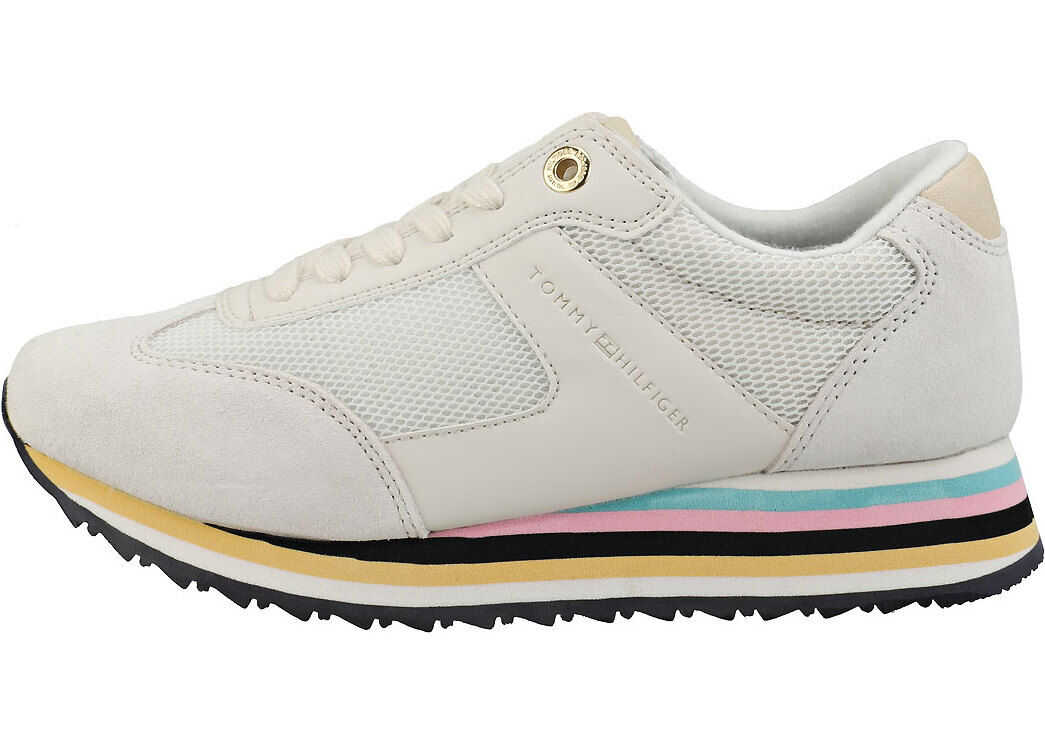 Tommy Hilfiger Stripe Retro Sneaker Casual Trainers In Off White White