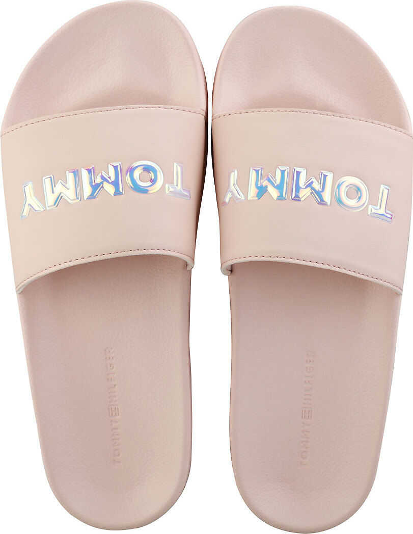 Tommy Hilfiger Iridescent Detail Pool Slide Sandals In Silver Peony Silver