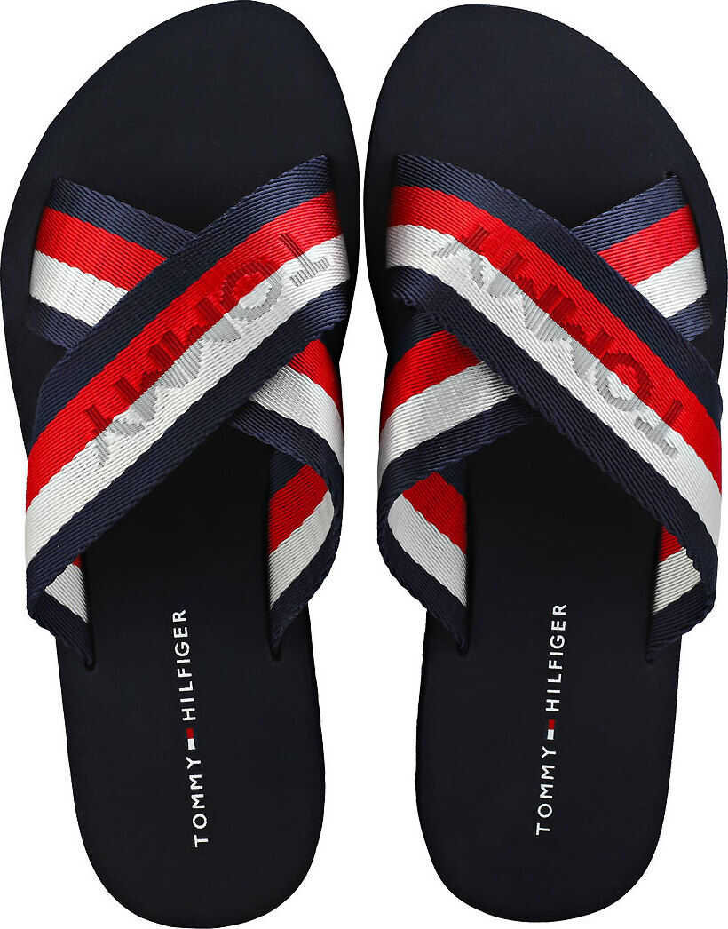 Tommy Hilfiger Colorful Slide Sandals In Red White Blue Red