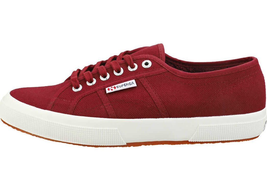 Superga 2750 Cotu Classic Plimsoll Trainers In Burgundy White Red