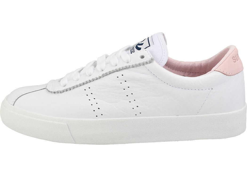 Superga 2843 Clubs Comfleau Flatform Trainers In White Pink White