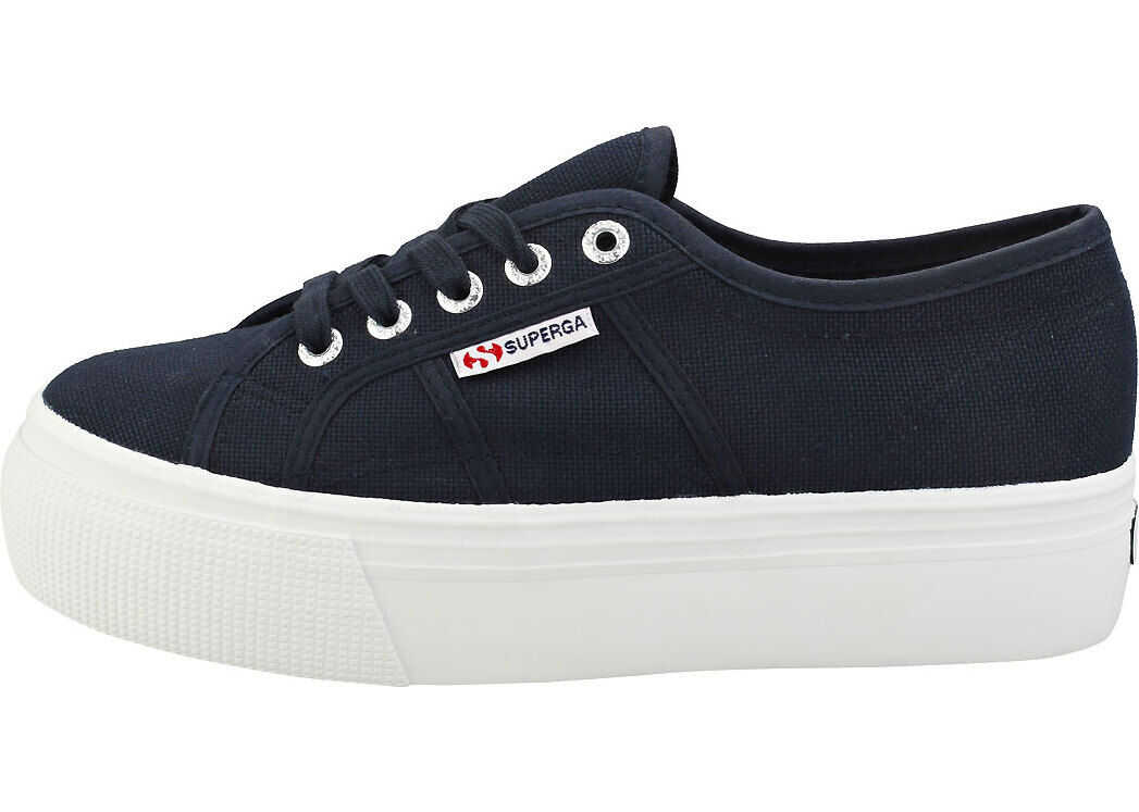 Superga 2790 Linea Up And Down Flatform Trainers In Navy White Blue