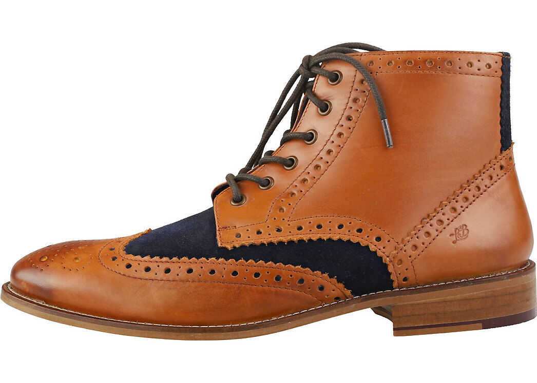 London Brogues Gatsby Six Eyelet Brogue Boots In Tan Navy Tan