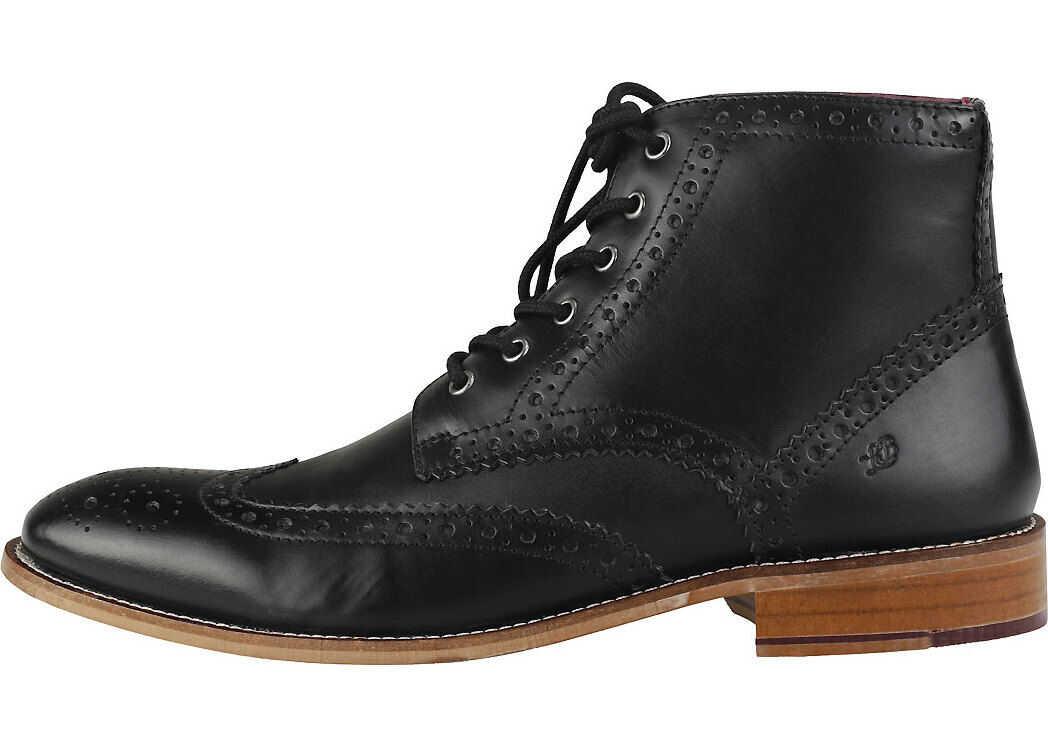 London Brogues Gatsby Six Eyelet Brogue Boots In Black Black