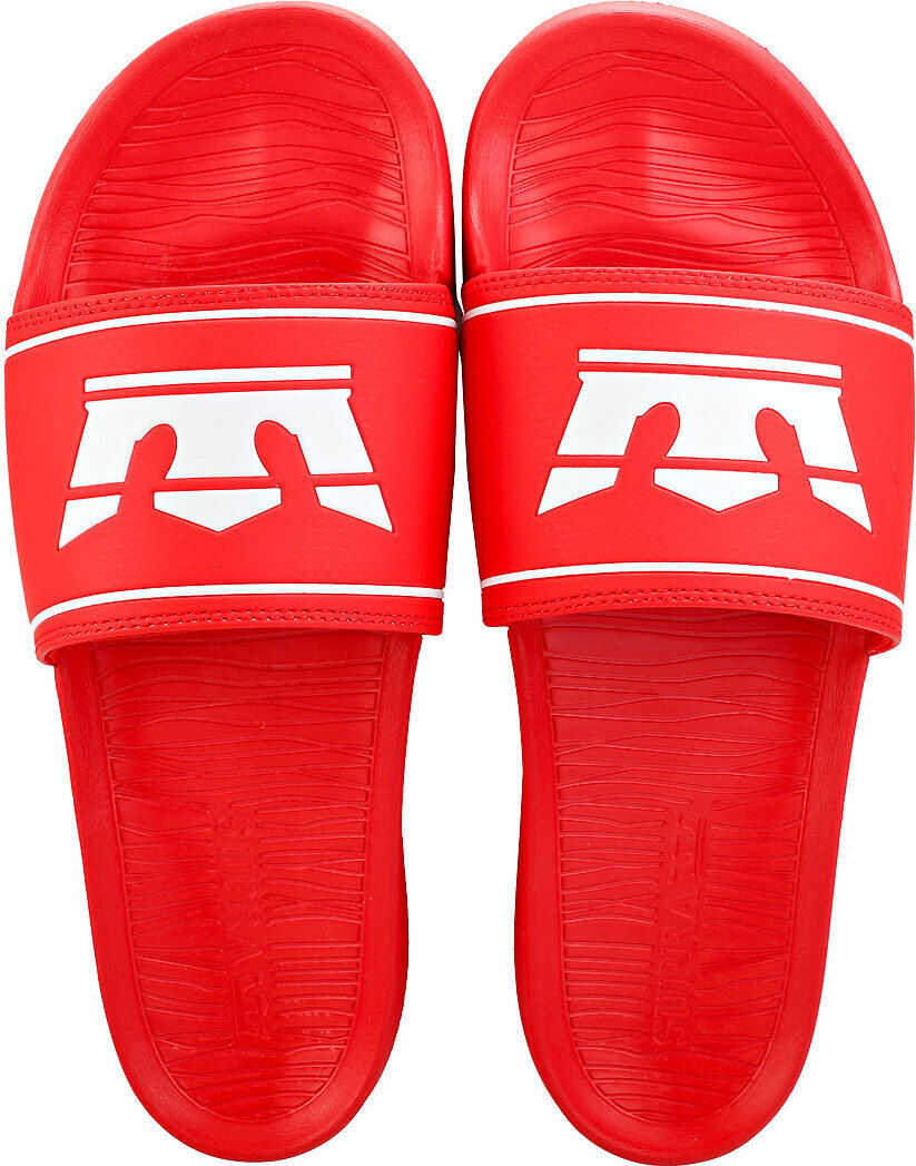 Supra Lockup Slide Sandals In Red White Red