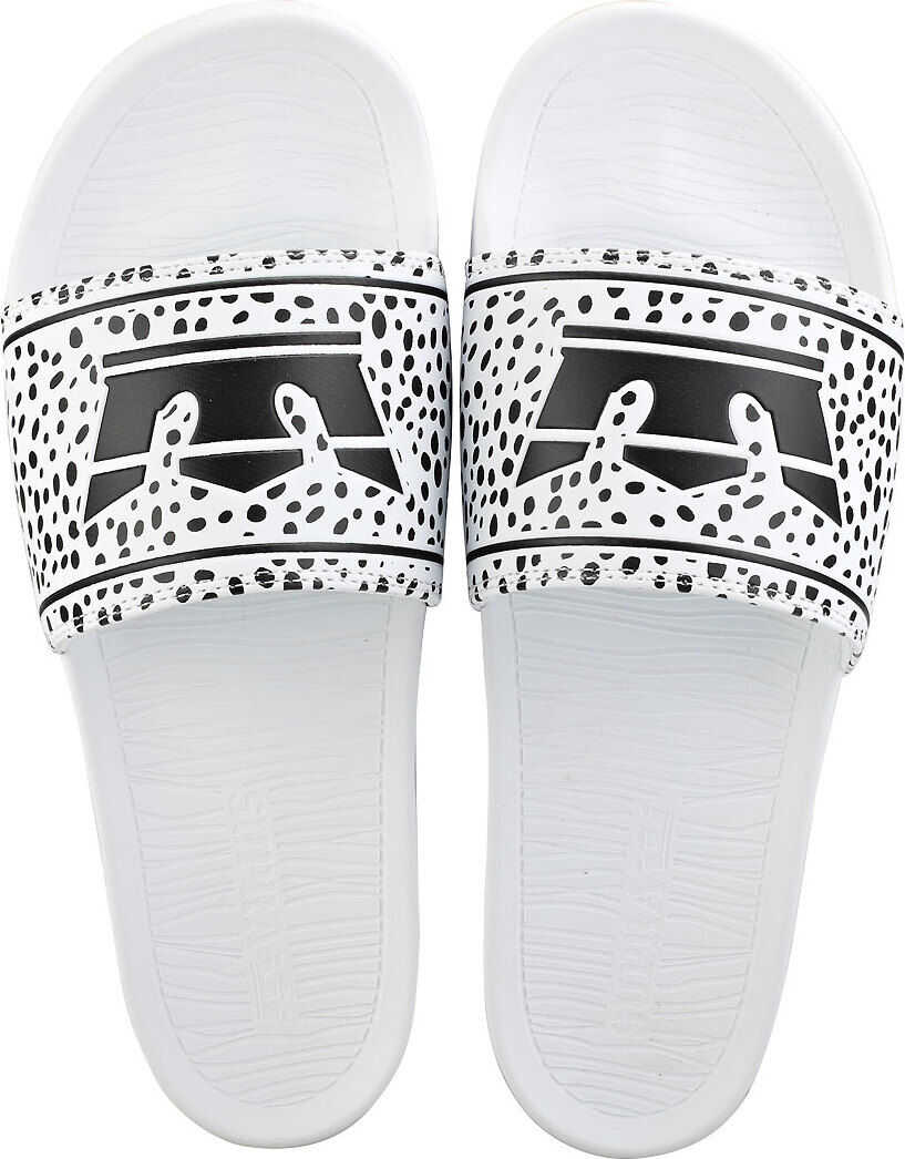 Supra Lockup Slide Sandals In White Black White