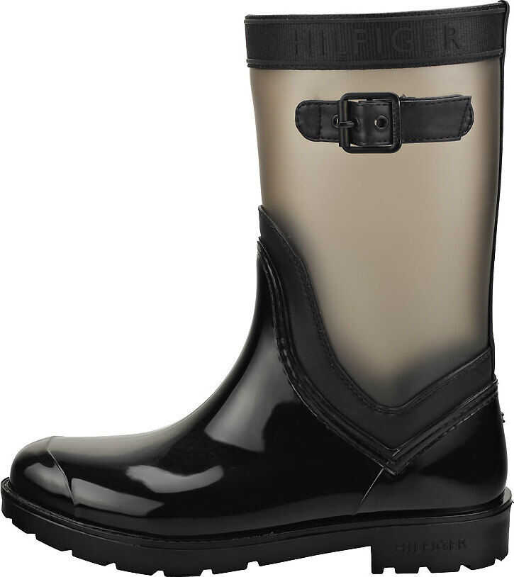 Tommy Hilfiger Translucent Detail Rain Wellington Boots In Black Black