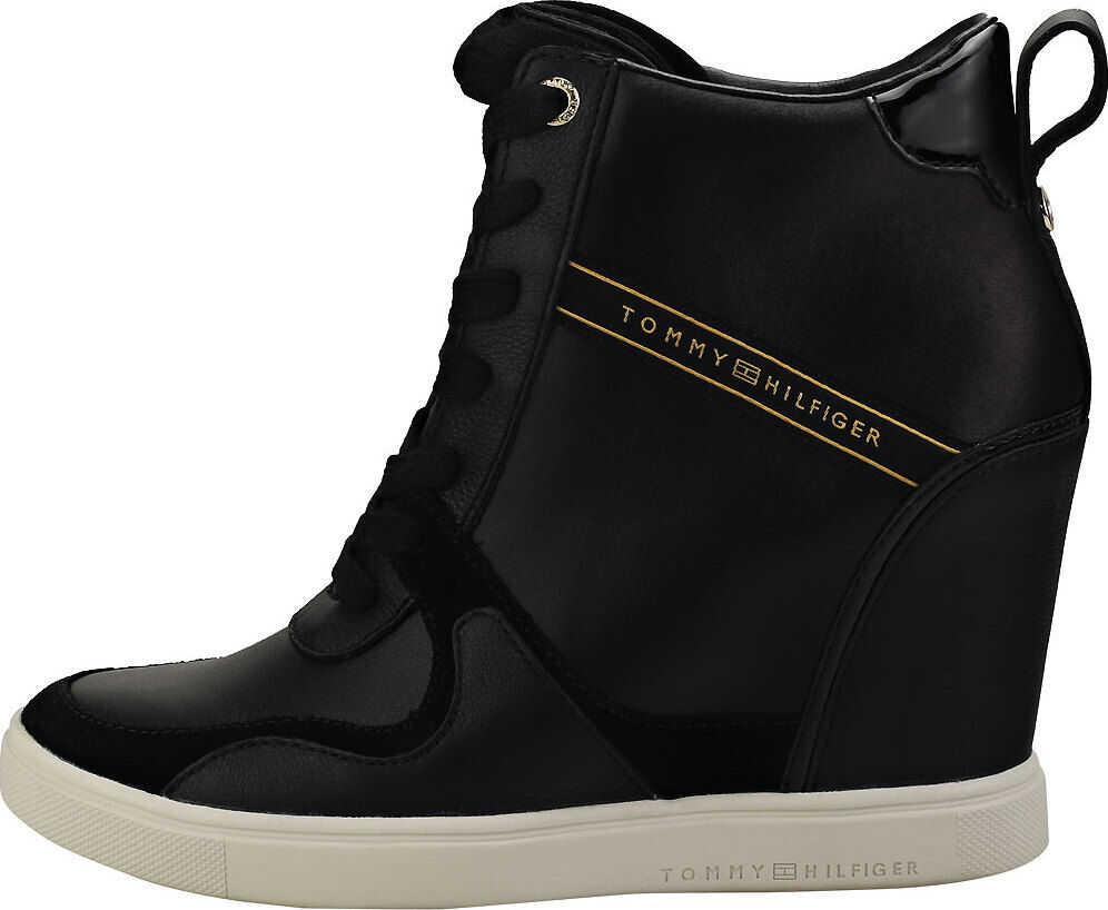 Tommy Hilfiger Dressy Sneaker Wedge Wedge Trainers In Black Black