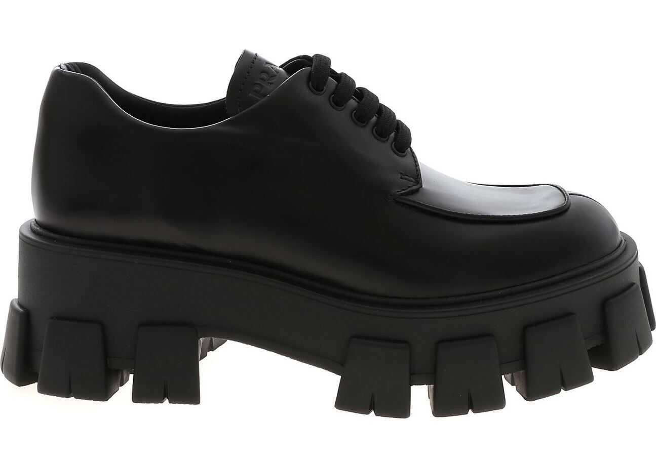 Prada Derby Shoes In Black With Wedge Black