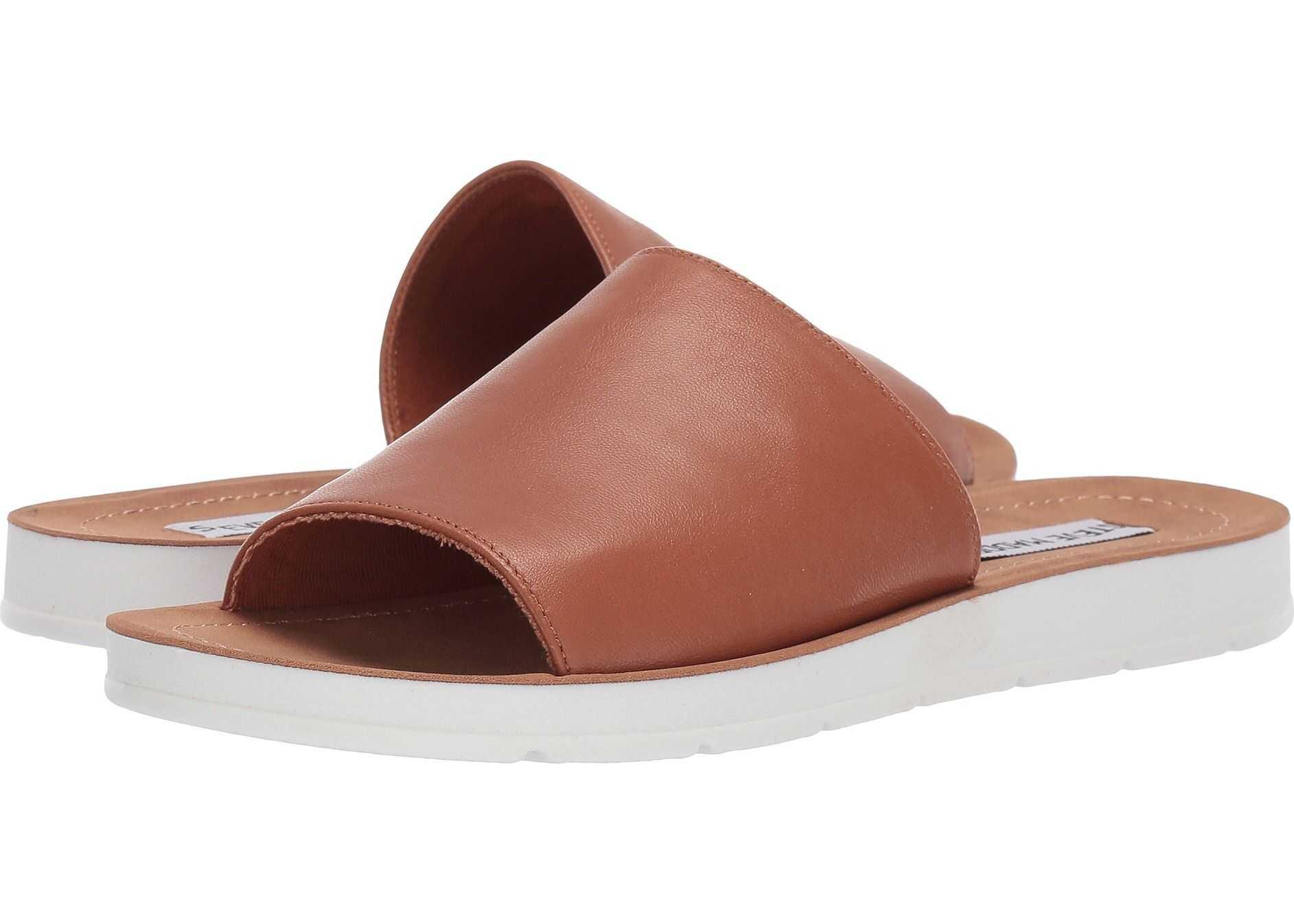 Steve Madden Porter Flat Sandal Cognac Leather