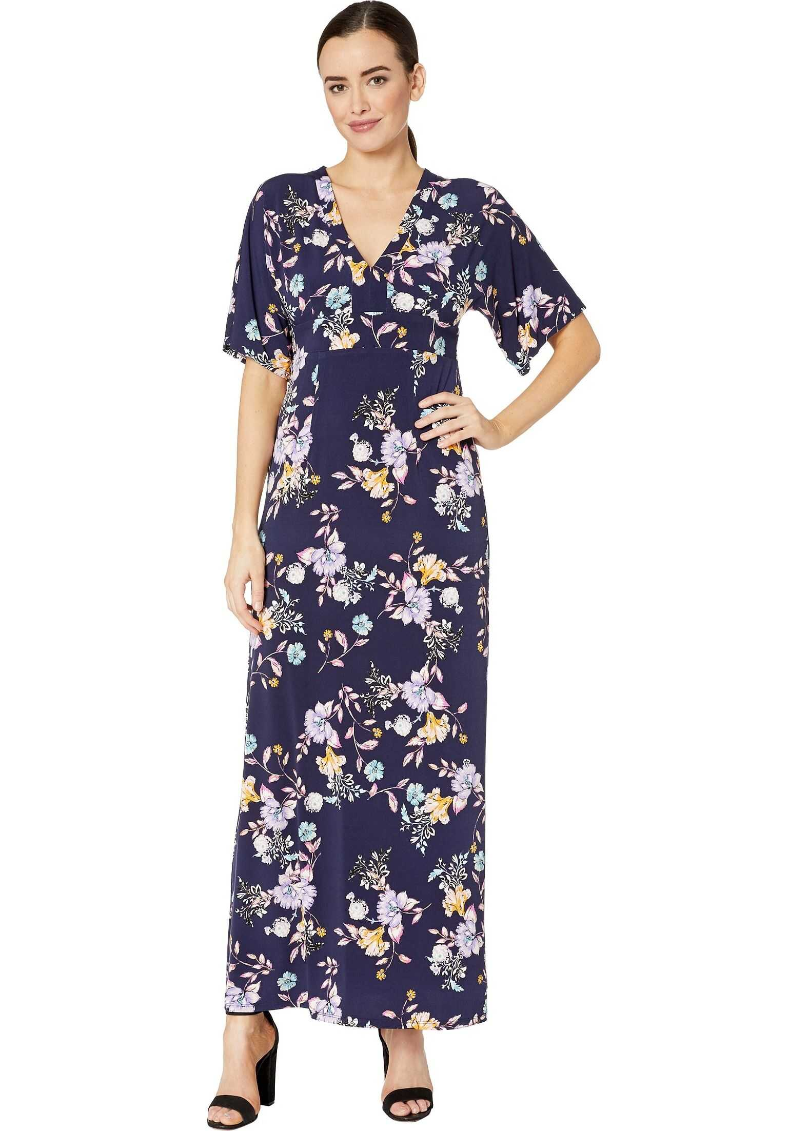 Donna Morgan 3/4 Flutter Sleeve V-Neck Mixed Print Jersey Maxi Dress Navy/Lilac Multi