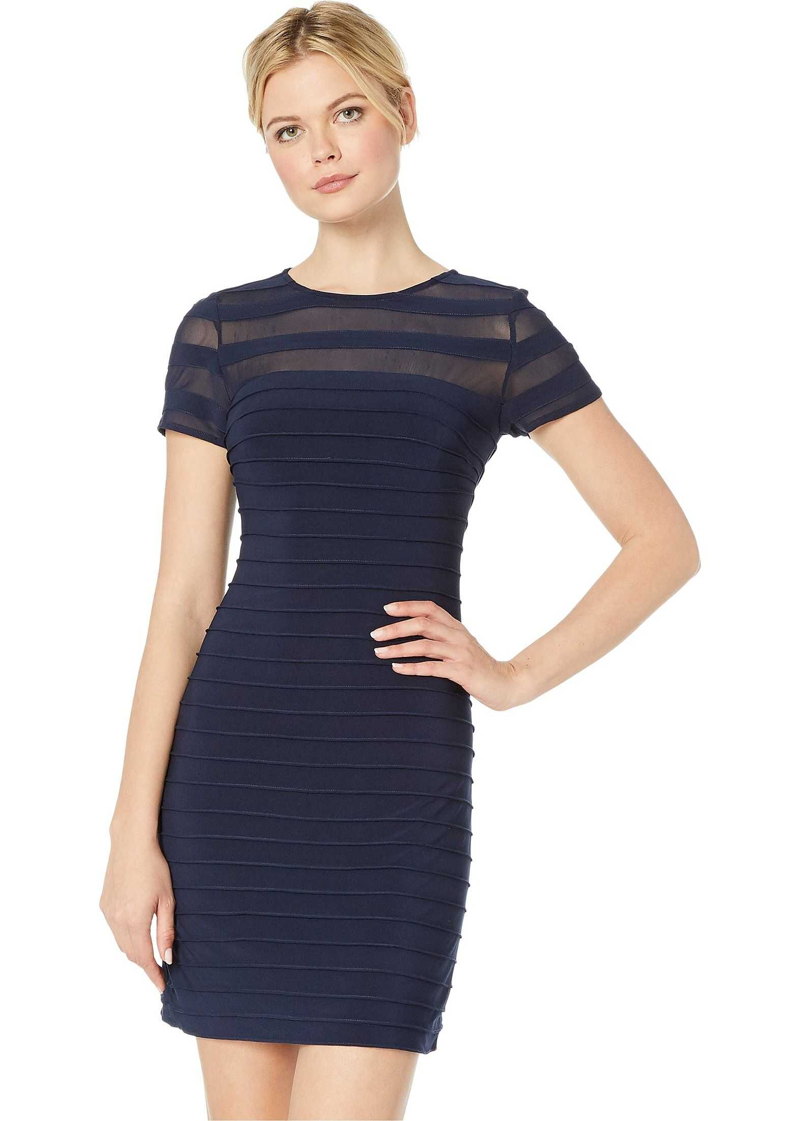 Adrianna Papell A-Line Banded Mini Dress Blue Moon