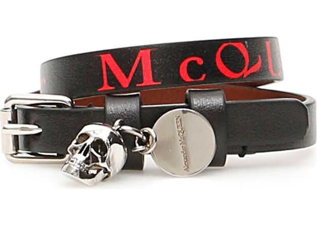 Alexander McQueen Wrap Bracelet BLACK LUST RED