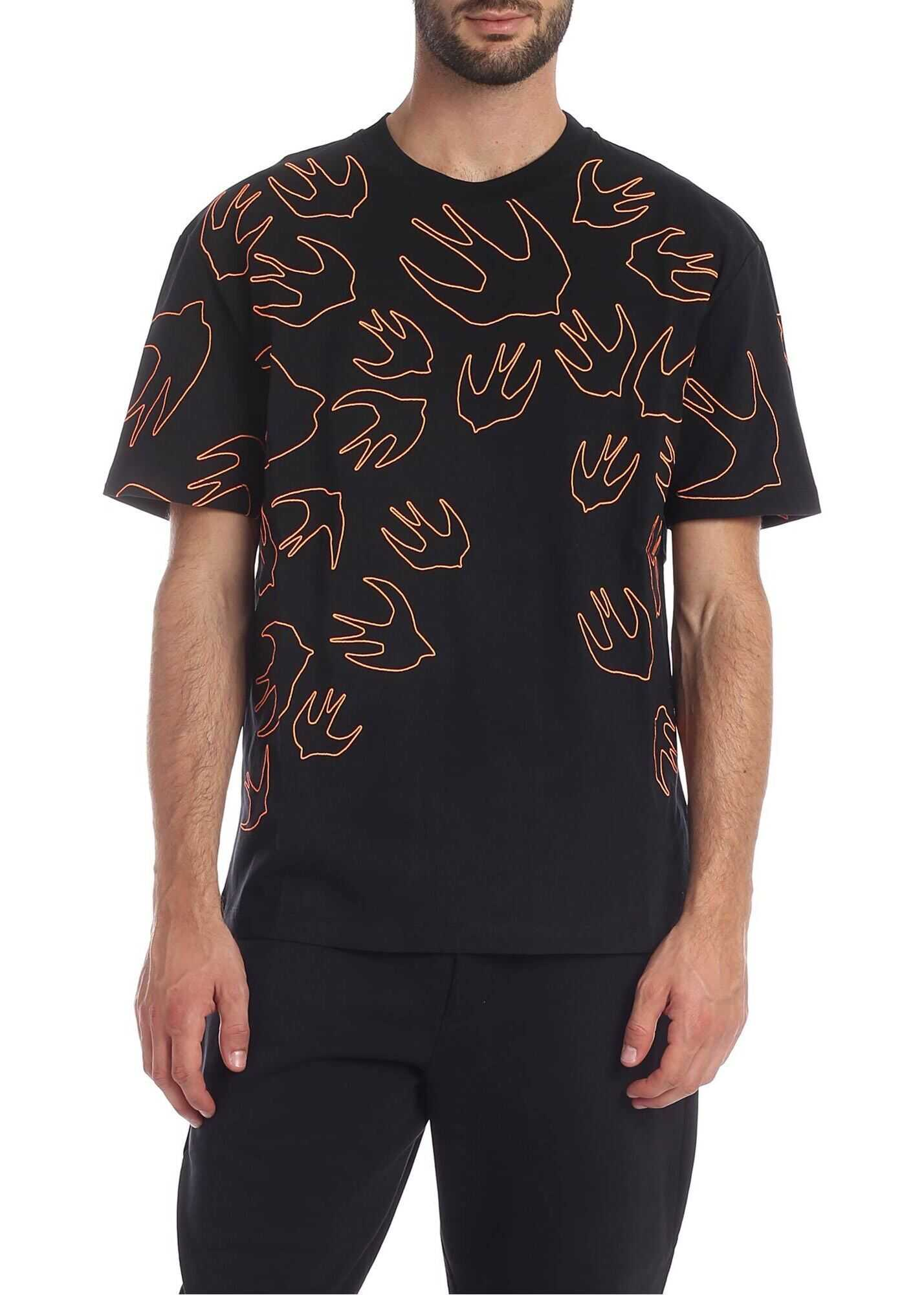 MCQ Alexander McQueen Swallow Contrast Dropped T-Shirt In Black Black