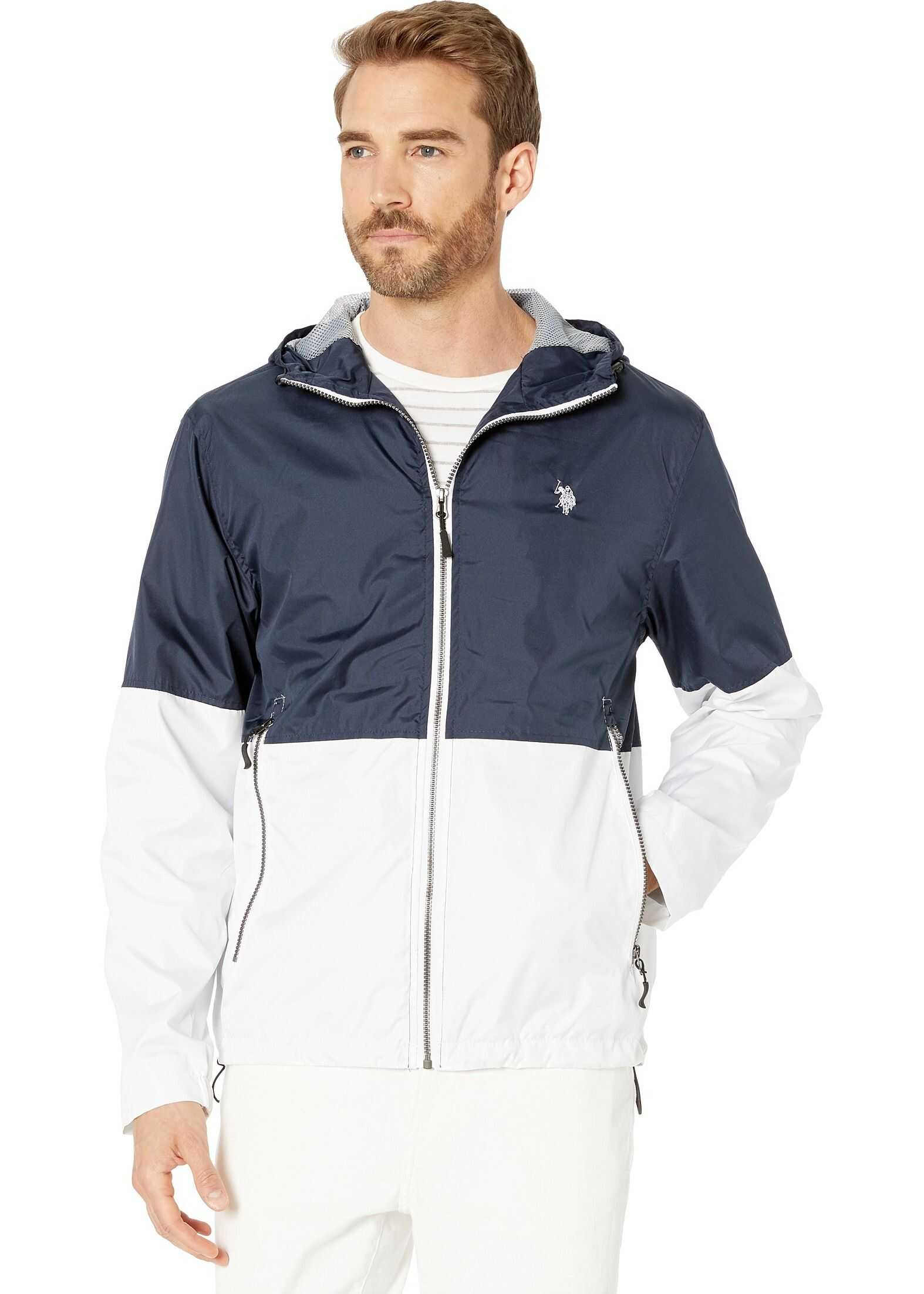 U.S. POLO ASSN. Hooded Color Block Windbreaker w/ Rib Cuff Classic Navy