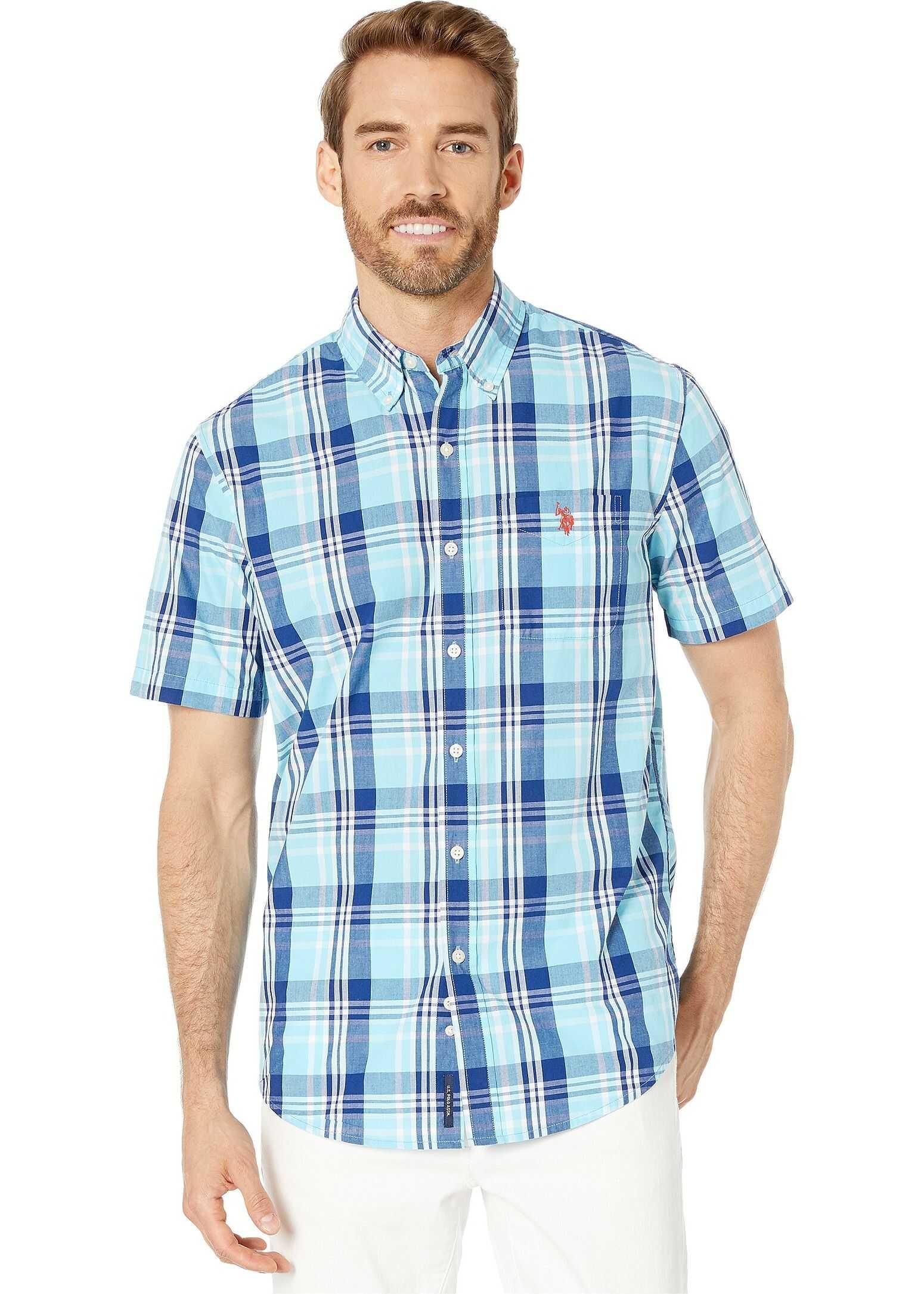 U.S. POLO ASSN. Short Sleeve Large Plaid Woven Horizon Blue