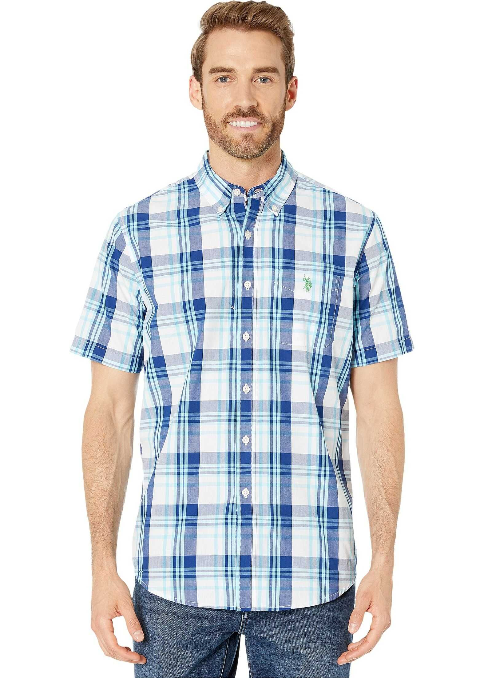 U.S. POLO ASSN. Short Sleeve Large Plaid Woven Optic White