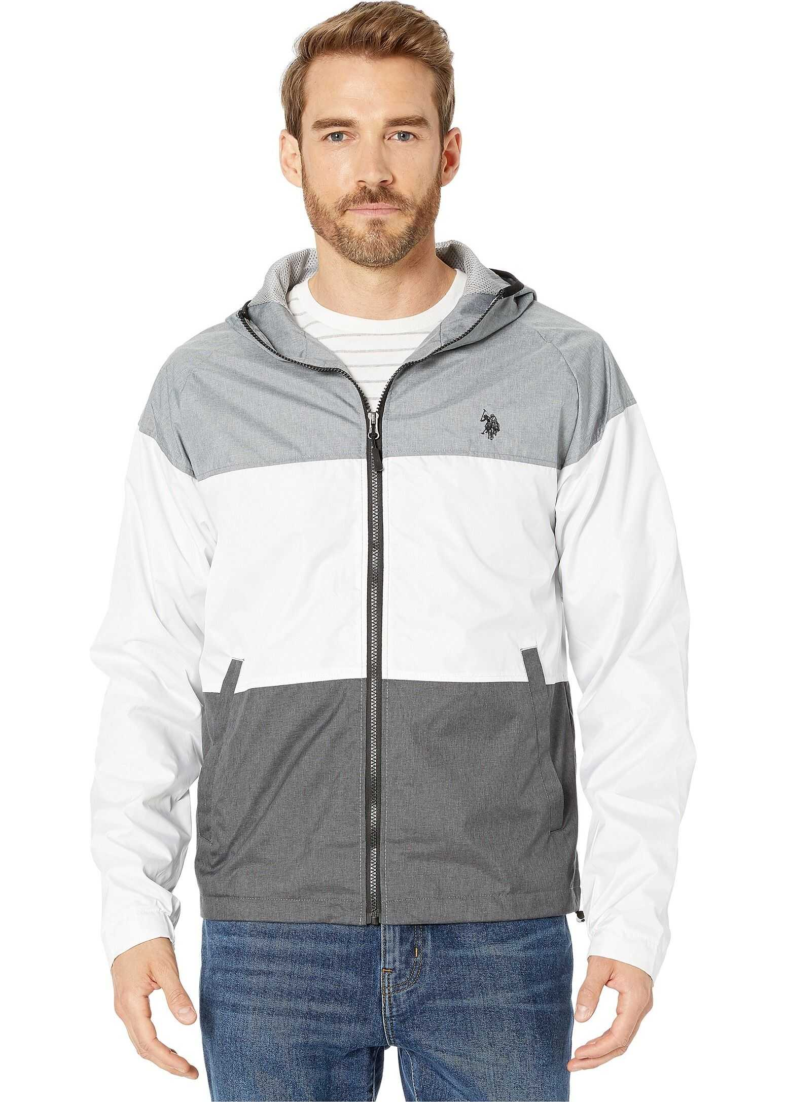U.S. POLO ASSN. Tricolor Block Windbreaker Heather Gray