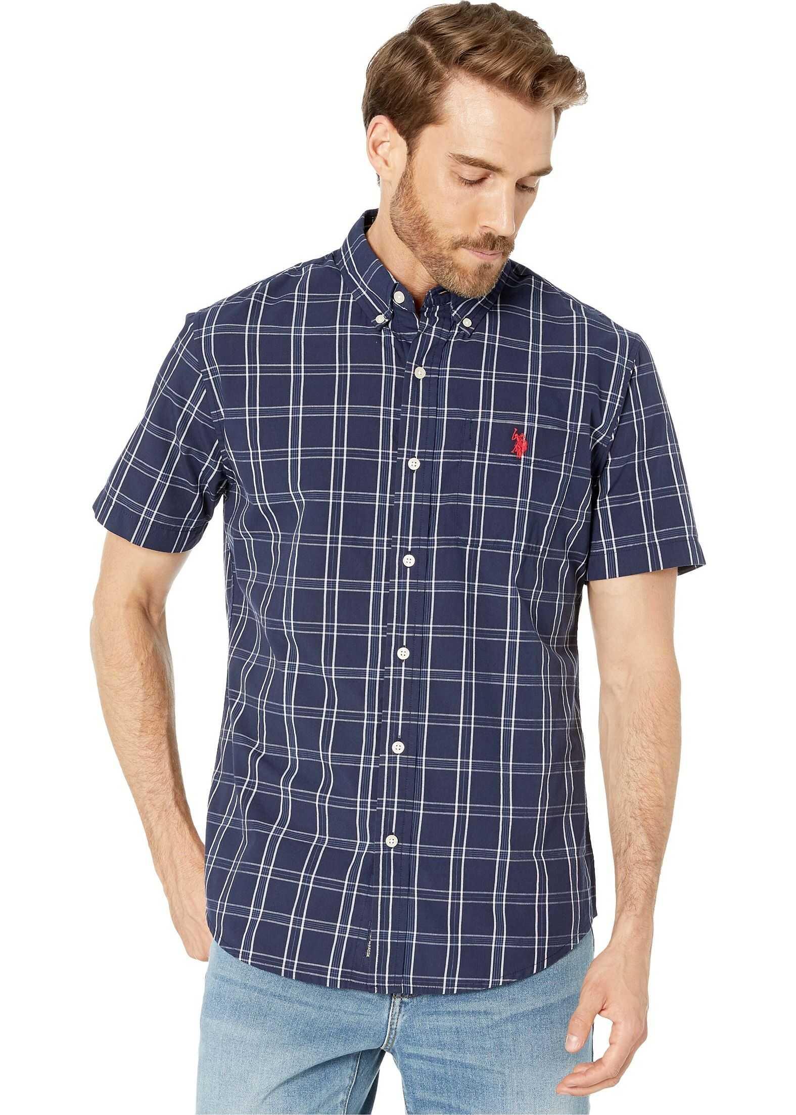 U.S. POLO ASSN. Plaid Poplin Shirt Classic Navy