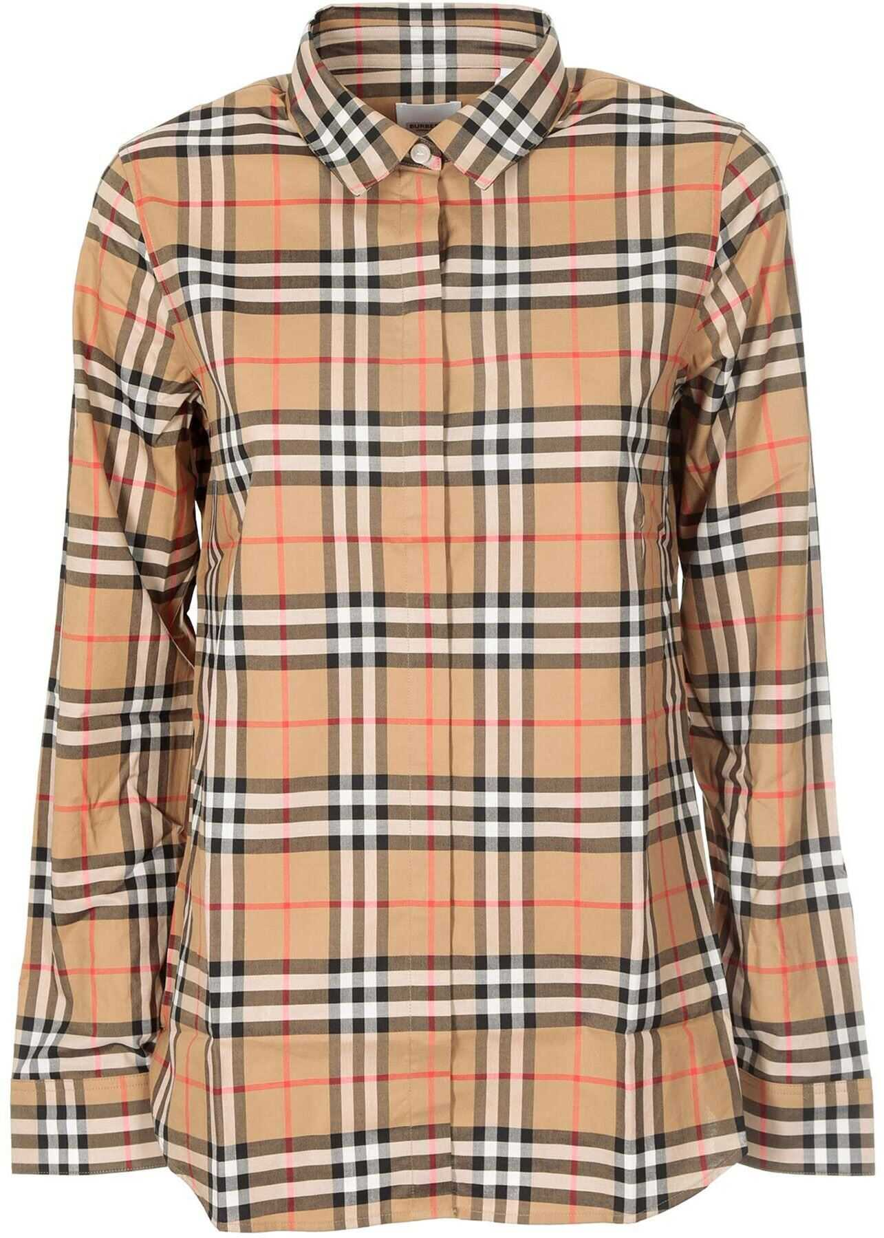 Burberry Crow Shirt In Check Motif Beige