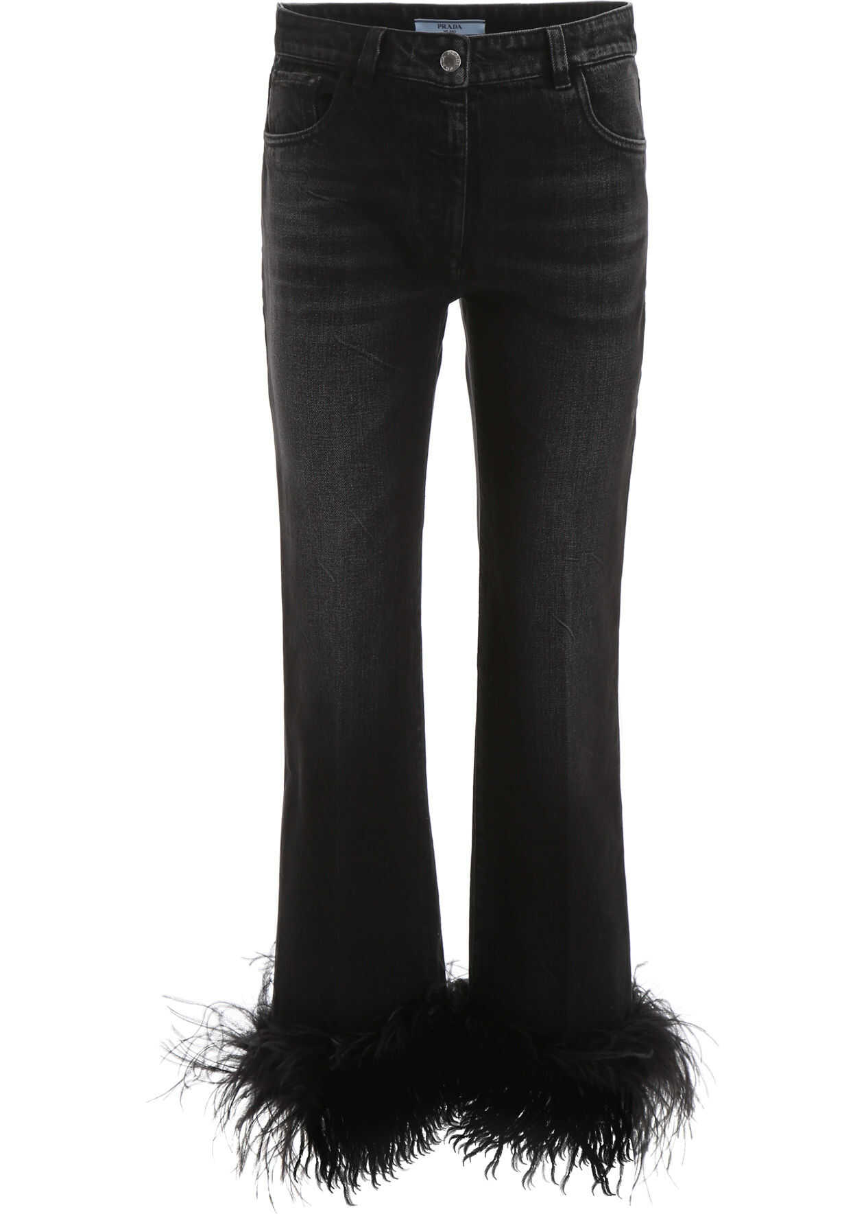 Prada Jeans With Ostrich Feathers NERO