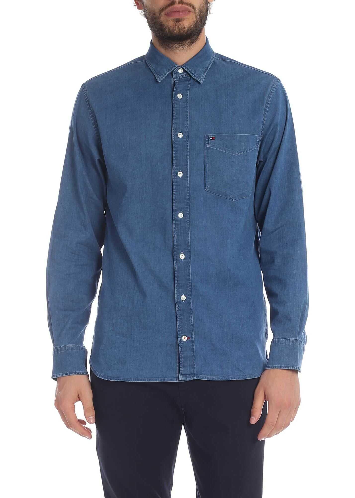 Tommy Hilfiger Blue Denim Shirt With Logo Embroidery Blue