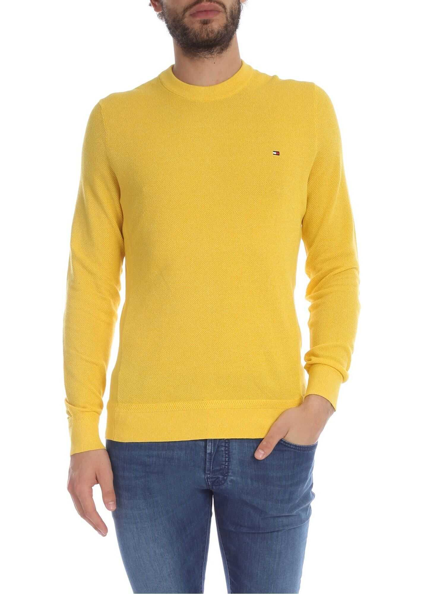 Tommy Hilfiger Yellow Pullover With Logo Embroidery Yellow