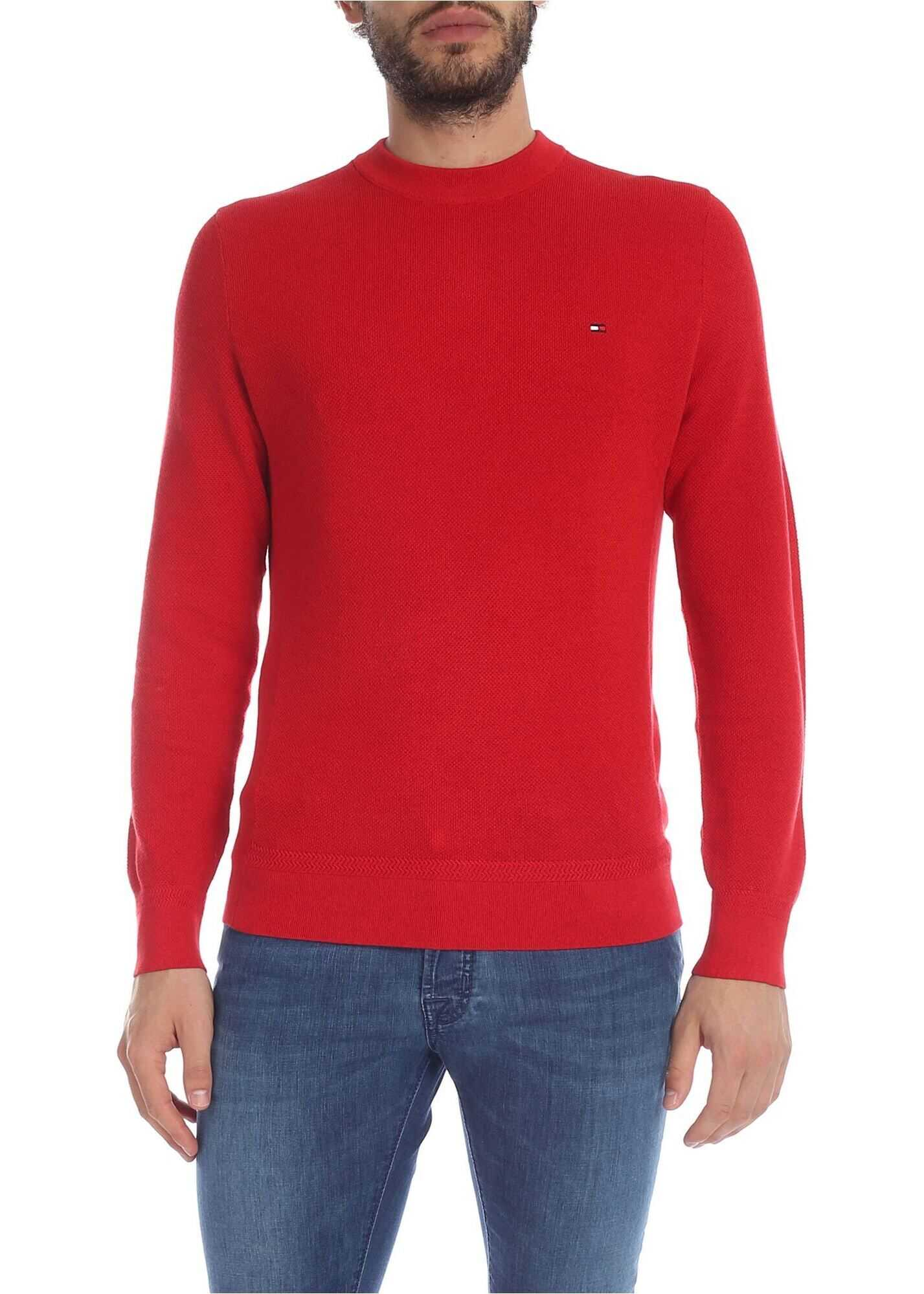 Tommy Hilfiger Red Pullover With Logo Embroidery Red