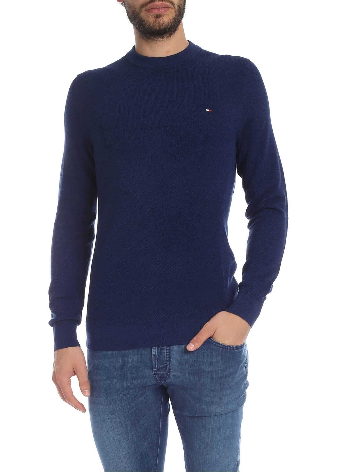 Tommy Hilfiger Melange Blue Pullover With Logo Embroidery Blue