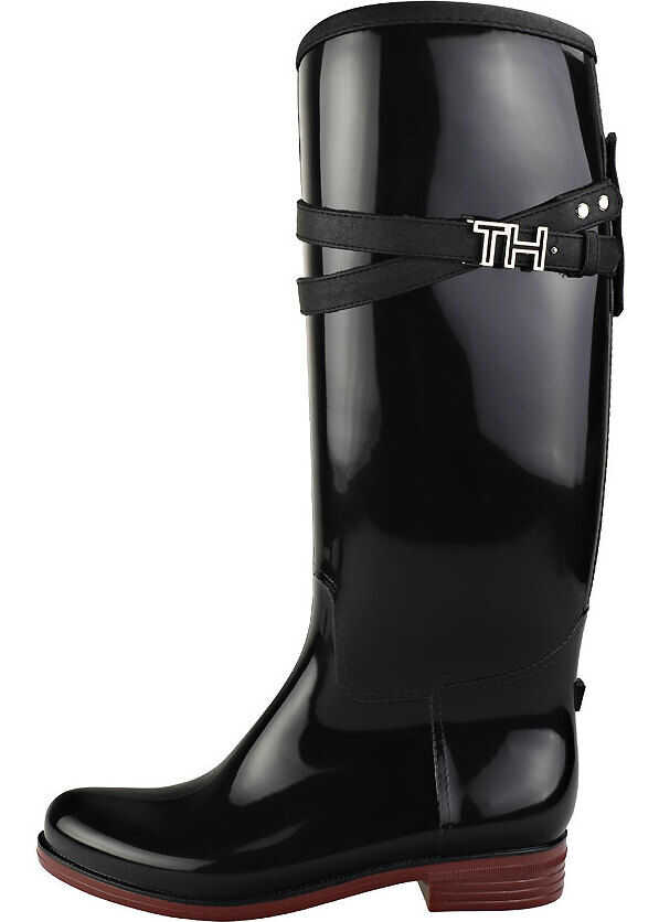 Tommy Hilfiger Hardware Rubber Knee High Boots In Black Black