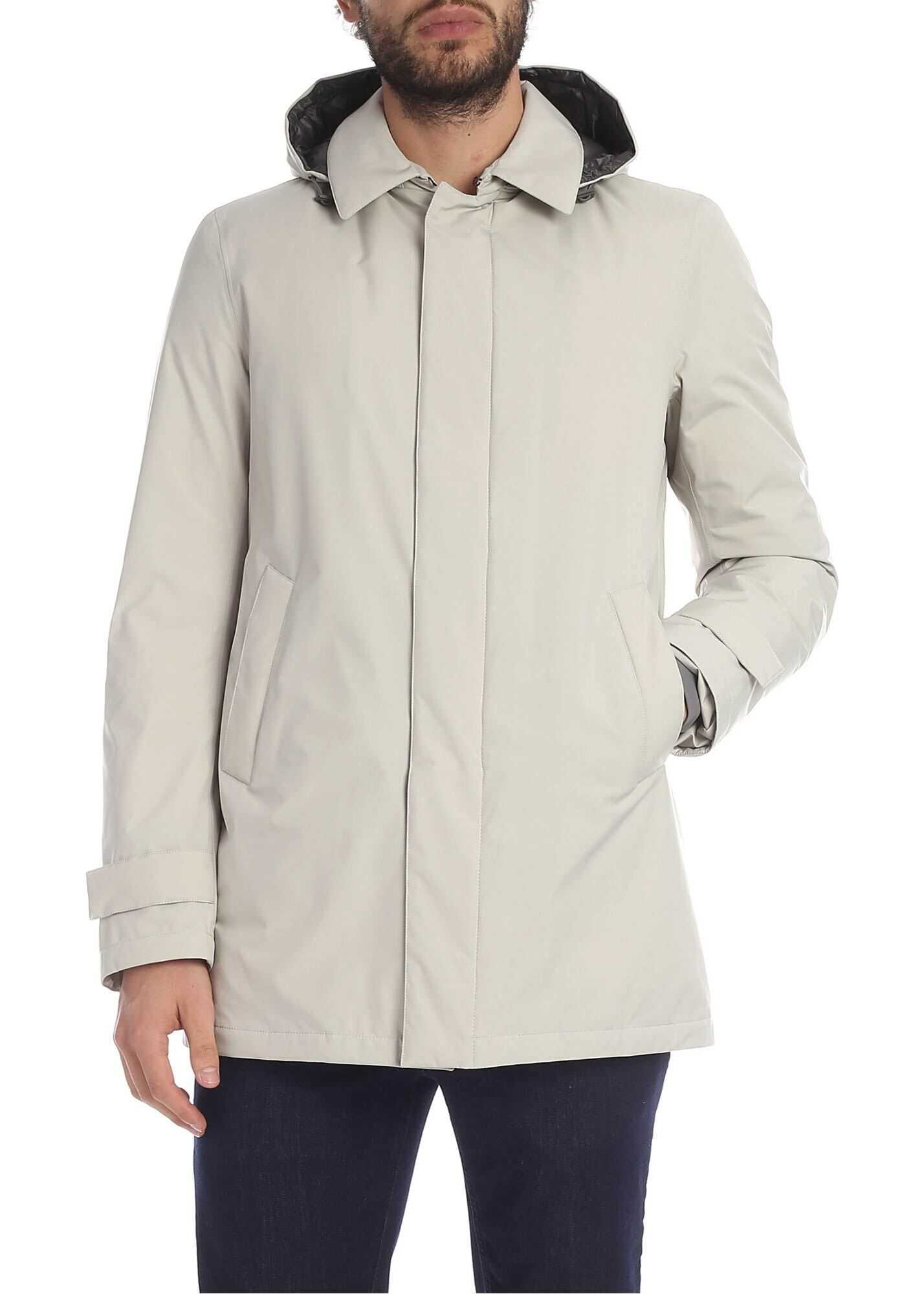 Herno Hooded Down Jacket In Ice Colored White imagine