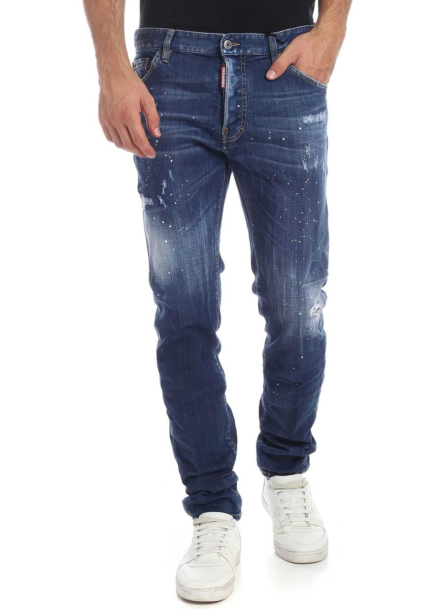 DSQUARED2 Stained-Effect Blue Cool Guy Jeans Blue