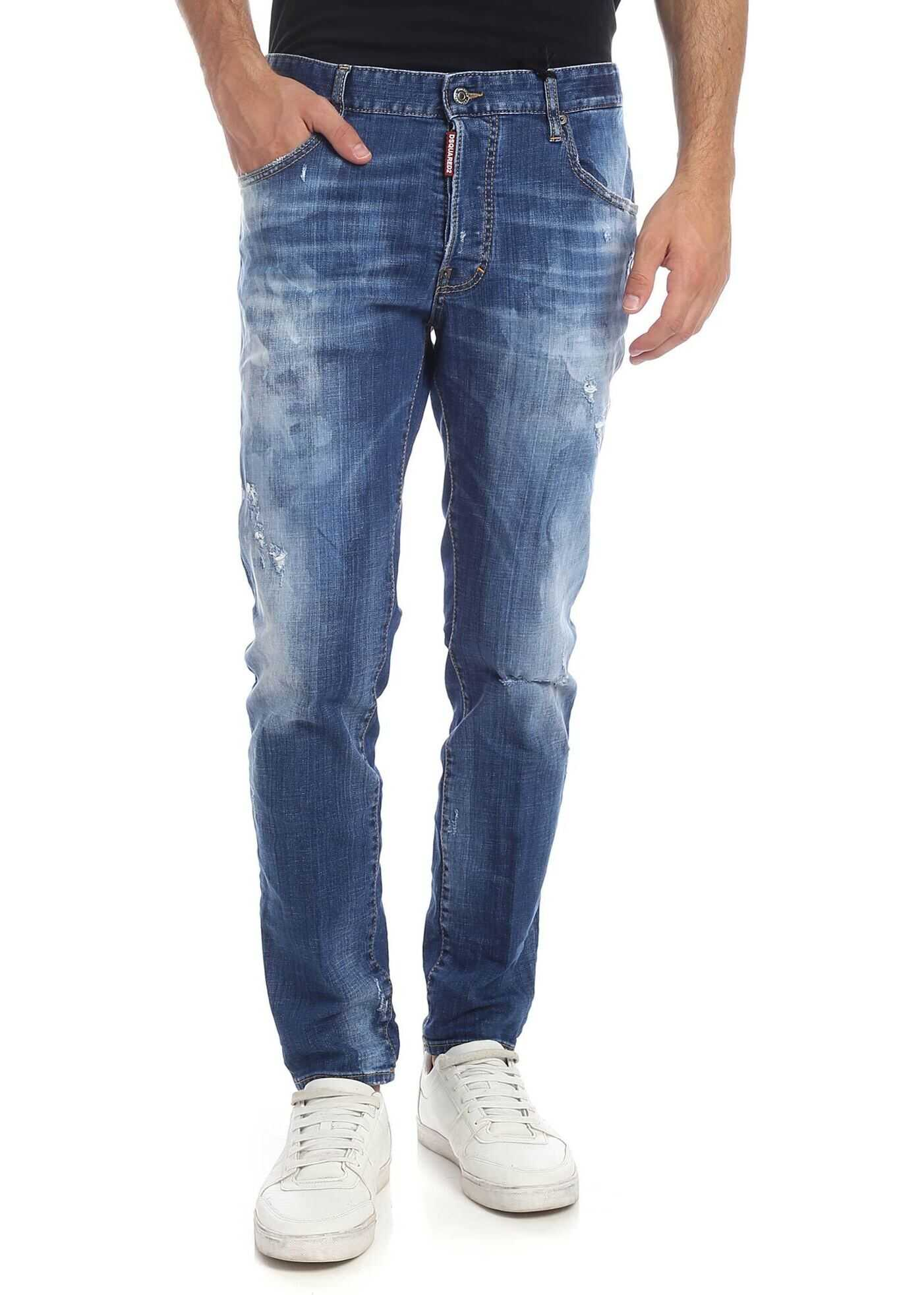 DSQUARED2 Skater Jeans In Blue With Destroyed Effect Blue