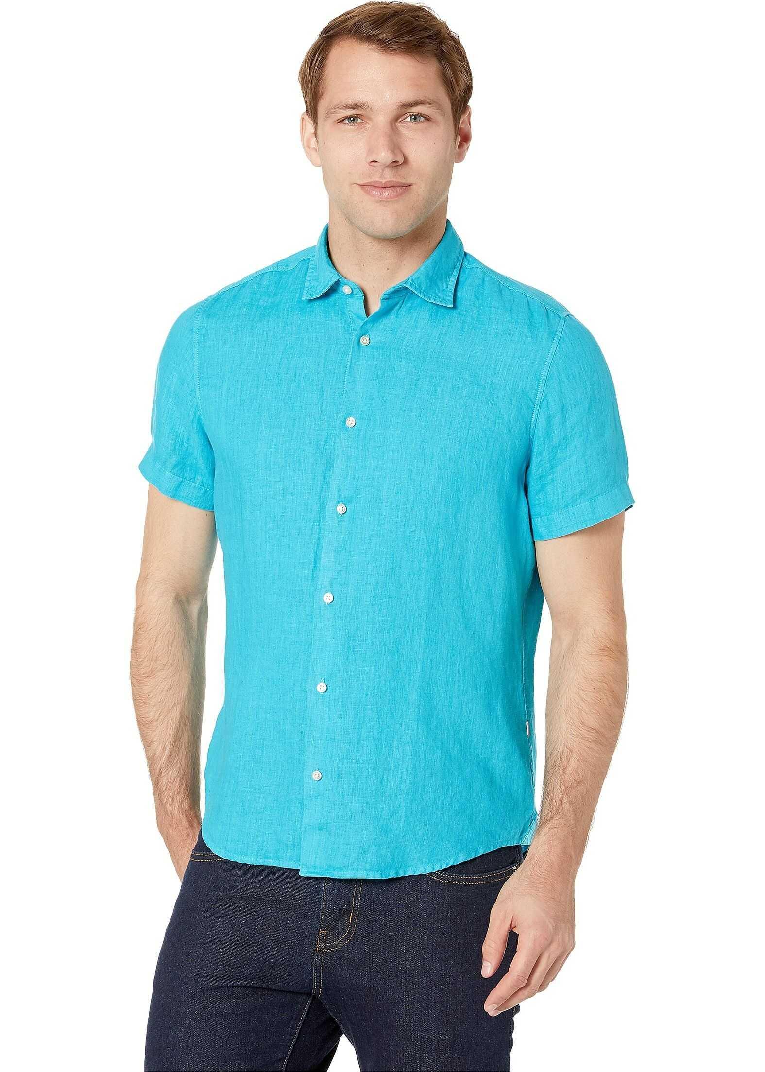BOSS Hugo Boss Short Sleeve Linen Woven Shirt Open Blue