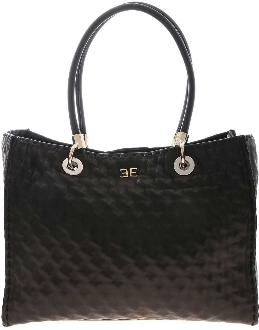 Ermanno Scervino Medium Shopping Bag In Black D353S305FNA 95708 Black imagine b-mall.ro