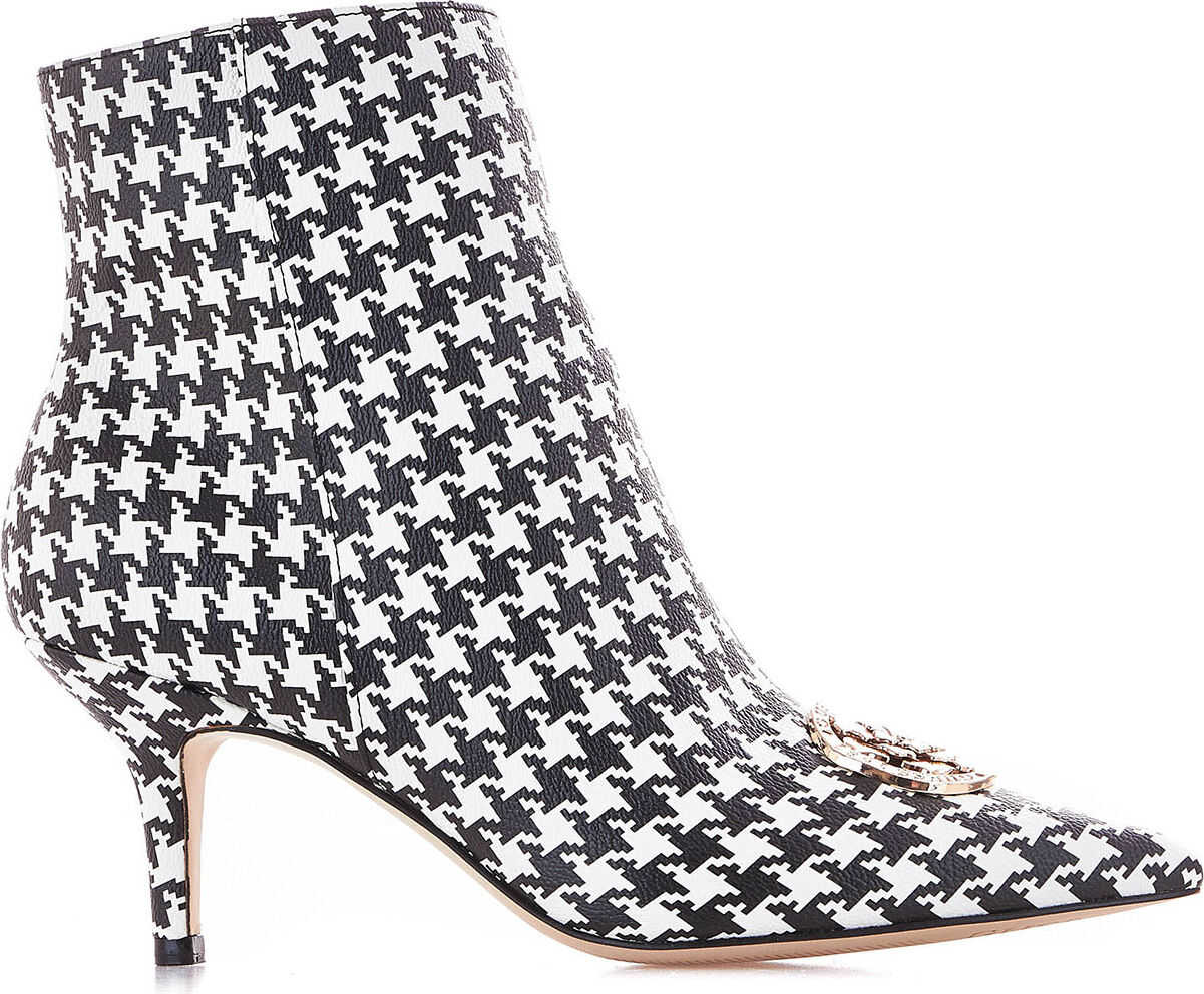 GUESS Ankle boots with hounds tooth print White