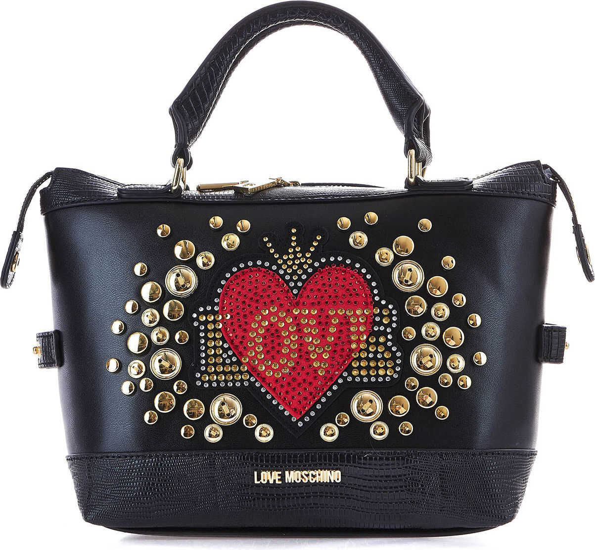 LOVE Moschino Hand bag with logo applications Black