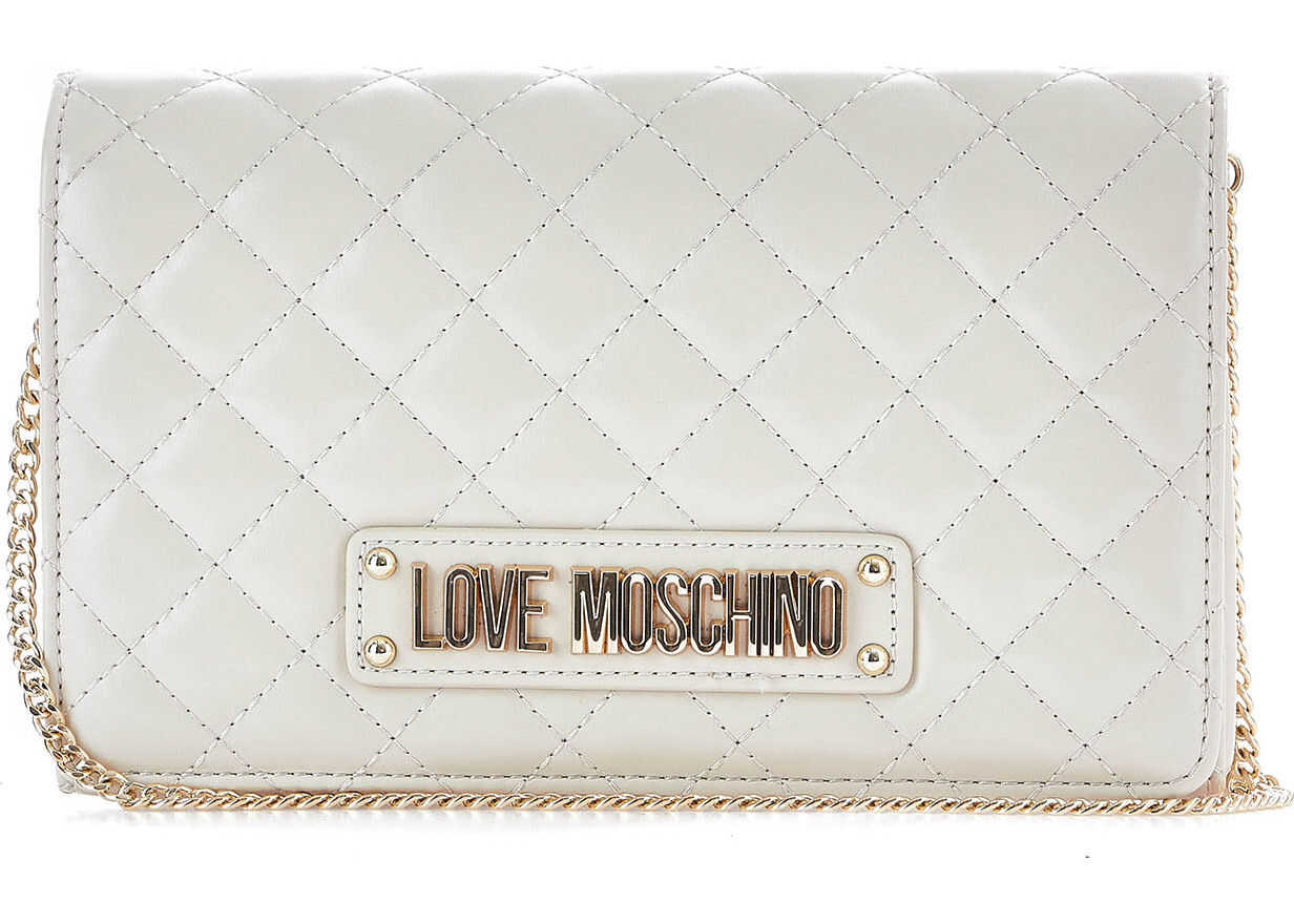 LOVE Moschino Quilted crossbody bag Cream