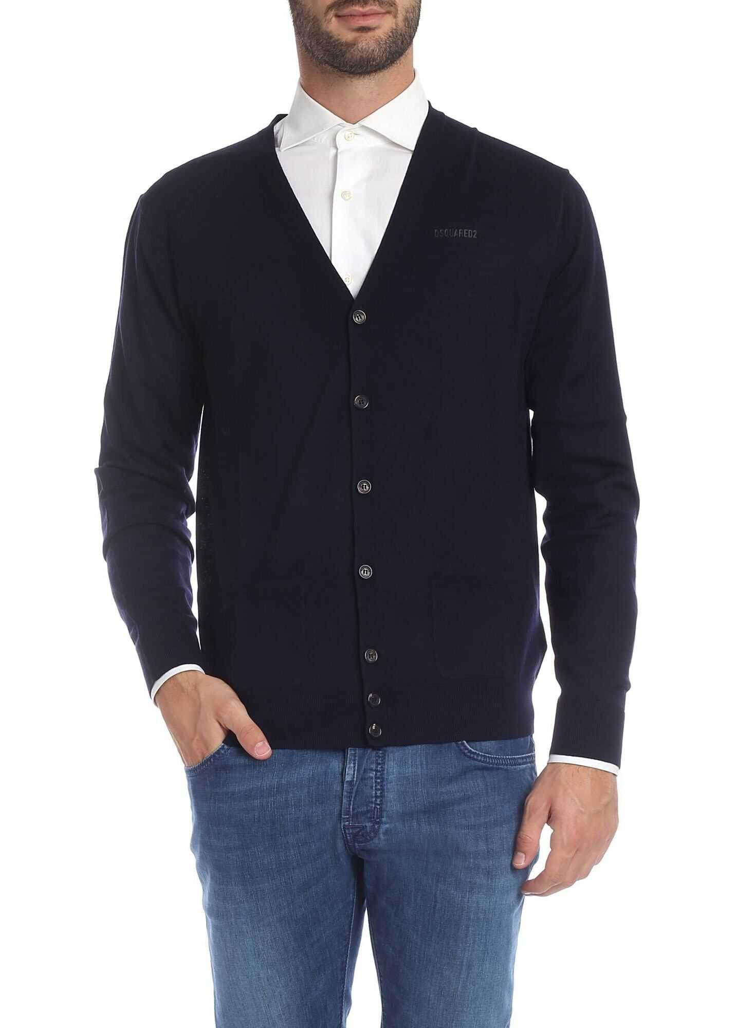 DSQUARED2 Blue Cardigan With Logo Print Blue