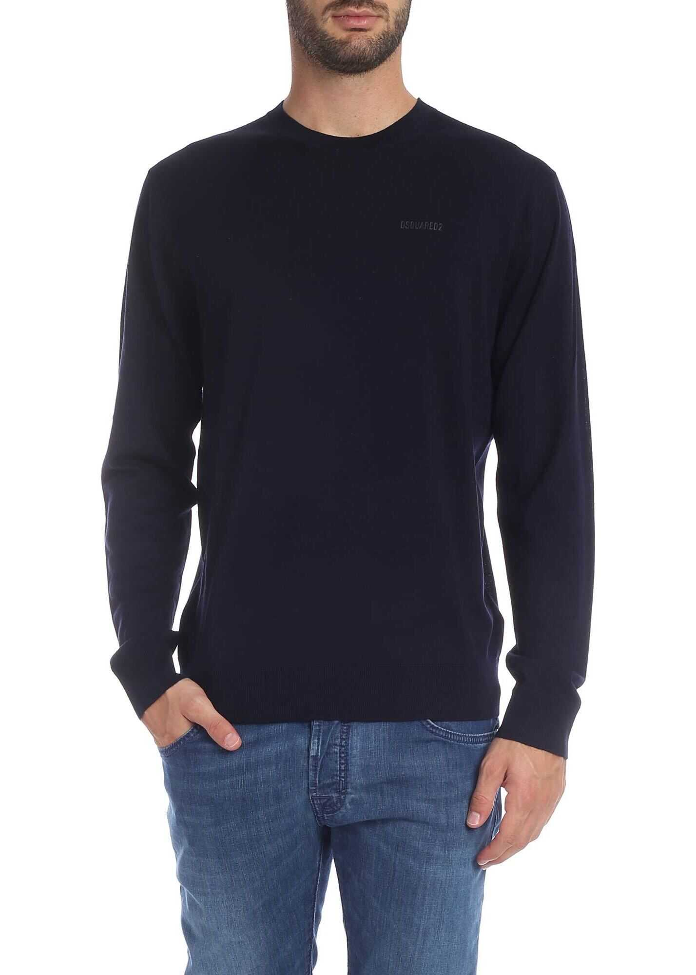 DSQUARED2 Dark Blue Wool Pullover Blue