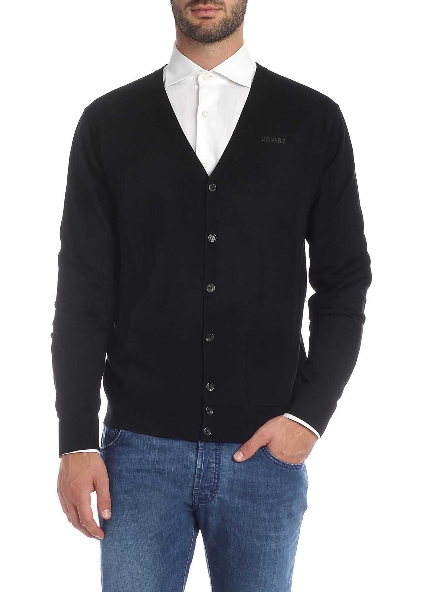 DSQUARED2 Black Cardigan With Pockets Black