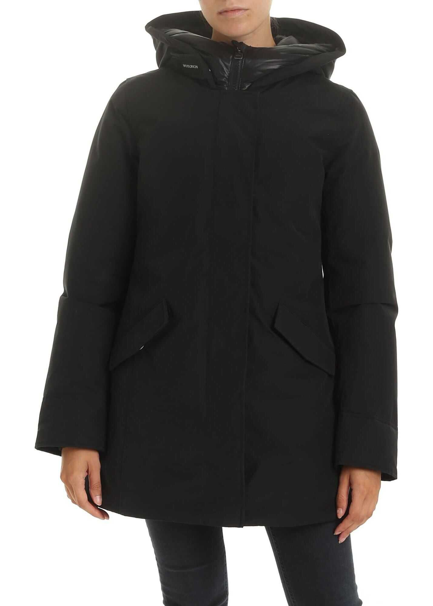 Woolrich Artic Parka Down Jacket In Black Black