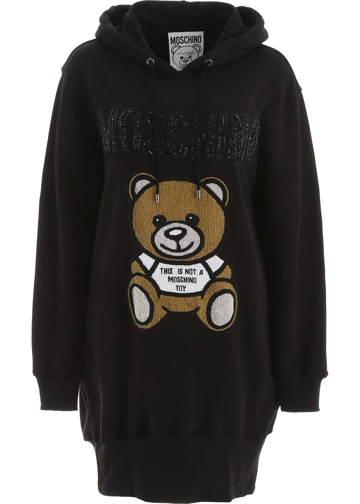 Moschino Hoodie Dress With Teddy Bear Embroidery BLACK